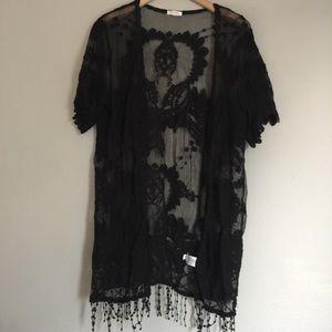 Fringe lace sheer kimono top